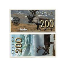Сувенирная банкнота банка Аляска 200 северных долларов 2016 г. , олень (пресс)