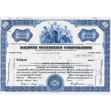 """Ценная бумага """"Baldwin Securities Corporation, 100 акций"""". США, 1957 г. (UC)"""