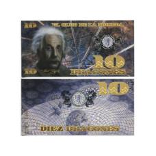 Сувенирная банкнота Колумбии 10 dragones 2013 г. Альберт Энштейн (пресс)