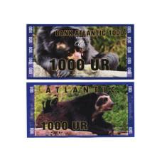 Сувенирная банкнота банка Атлантики 1000 UR 2016 г. , серия медведи (пресс)