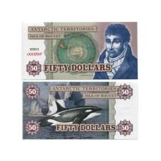 Сувенирная банкнота Антарктики 50 долларов Касатка (пресс)