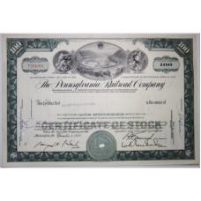 """Ценная бумага """"The Pennsylvania Railroad Company, 100 акций"""". США, 1963 г. (XF, Т214203, гашёная)"""