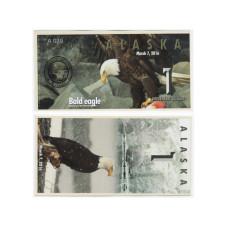 Сувенирная банкнота банка Аляска 1 северный доллар 2016 г. , белоголовый орлан (пресс)