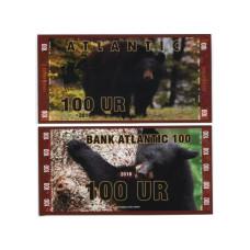 Сувенирная банкнота банка Атлантики 100 UR 2016 г. , серия медведи (пресс)