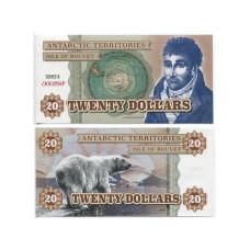 Сувенирная банкнота Антарктики 20 долларов Белый медведь (пресс)