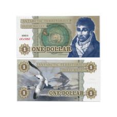 Сувенирная банкнота Антарктики 1 доллар Чайка (пресс)