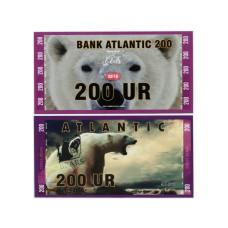 Сувенирная банкнота банка Атлантики 200 UR 2016 г. , серия медведи (пресс)