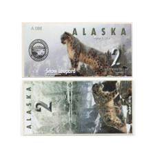 Сувенирная банкнота банка Аляска 2 северных доллара 2016 г. , снежный леопард (пресс)