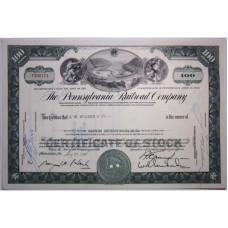 """Ценная бумага """"The Pennsylvania Railroad Company, 100 акций"""". США, 1965 г. (XF, T300174, гашёная)"""