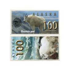 Сувенирная банкнота банка Аляска 100 северных долларов 2016 г. , горный козёл (пресс)