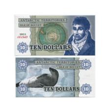 Сувенирная банкнота Антарктики 10 долларов Морской котик (пресс)