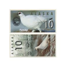 Сувенирная банкнота банка Аляска 10 северных долларов 2016 г. , куропатка (пресс)
