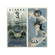 Сувенирная банкнота банка Аляска 3 северных доллара 2016 г. , Сова (пресс)
