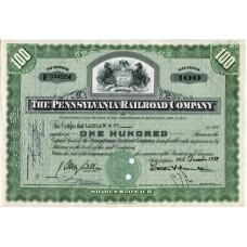 "Ценная бумага ""The Pennsylvania Railroad Company, 100 акций"". США, 1952 г. (XF, F 544564, гашёная)"