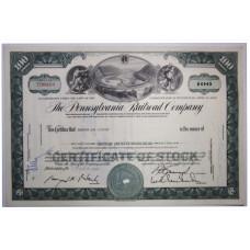 """Ценная бумага """"The Pennsylvania Railroad Company, 100 акций"""". США, 1965 г. (XF, T290169, гашёная)"""