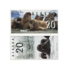 Сувенирная банкнота банка Аляска 20 северных долларов 2016 г. , морж (пресс)