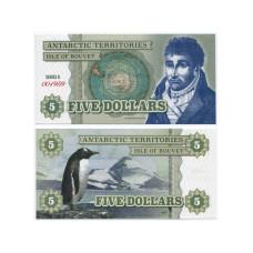 Сувенирная банкнота Антарктики 5 долларов Пингвин (пресс)