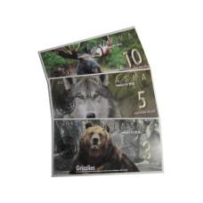 Набор из 3-x сувенирных банкнот Аляска, животные 2016 г. (пресс)