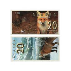 Сувенирная банкнота банка Аляска 20 северных долларов 2016 г. , лиса (пресс)