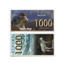 Сувенирная банкнота банка Аляска 1000 северных долларов 2016 г. , снежный баран (пресс)