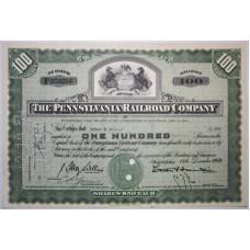 "Ценная бумага ""The Pennsylvania Railroad Company, 100 акций"". США, 1953 г. (XF, F609254, гашёная)"
