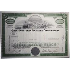 "Ценная бумага ""Great Northern Nekoosa Corporation"" 32 акции США 1976 г. (CNO31478, XF, гашёная)"