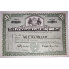 "Ценная бумага ""The Pennsylvania Railroad Company, 100 акций"". США, 1953 г. (XF, F586933, гашёная)"