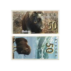 Сувенирная банкнота банка Аляска 50 северных долларов 2016 г. , овцебык (пресс)