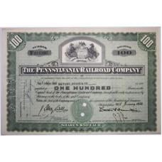 "Ценная бумага ""The Pennsylvania Railroad Company, 100 акций"". США, 1954 г. (XF, F 615398, гашёная)"