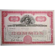 """Ценная бумага """"BOND STORES, INCORPORATED"""" 5 акций США 1939 г. (C0972, XF, гашёная)"""
