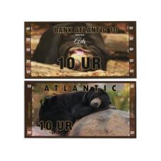 Сувенирная банкнота банка Атлантики 10 UR 2016 г. , серия медведи (пресс)