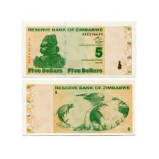 5 долларов Зимбабве 2009 г. (пресс)