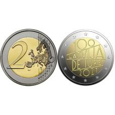 2 евро Латвии 2021 г. 100 лет признанию независимости Латвии