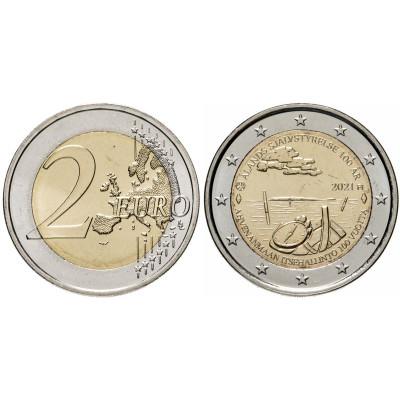 Биметаллическая монета 2 Евро Финляндии 2021 г. 100 лет самоуправлению в Аландском регионе