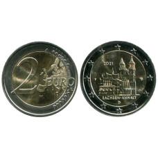 2 евро Германии 2021 г. Саксония-Анхальт, Магдебургский собор (F)