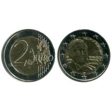 2 евро Германии 2018 г., 100 лет со дня рождения Гельмута Шмидта (A)