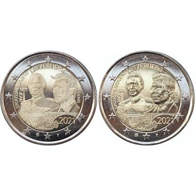 Биметаллическая монета 2 евро Люксембурга 2021 г. 100-летие со дня рождения великого герцога Жана (2шт)