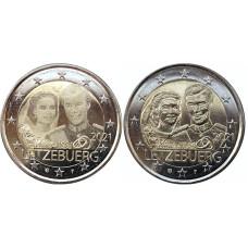 2 евро Люксембурга 2021 г. 40 лет со дня бракосочетания великого герцога Анри и великой герцогини Марии-Терезы (2шт)
