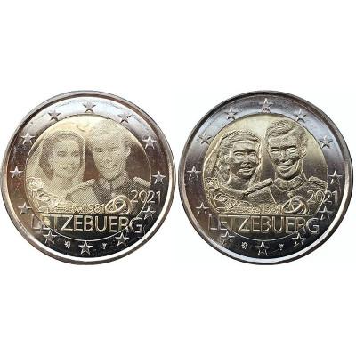 Биметаллическая монета 2 евро Люксембурга 2021 г. 40 лет со дня бракосочетания великого герцога Анри и великой герцогини Марии-Терезы (2шт)