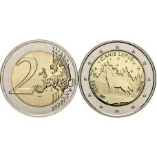2 евро Эстонии 2021 г. Волк
