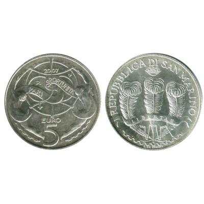 Серебряная монета 5 евро Сан-Марино 2007 г. Равные возможности