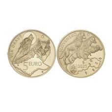 5 Евро Словакии 2021 г. Волк