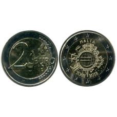 2 Евро Мальты 2012 Г., 10 Лет Наличному обращению Евро