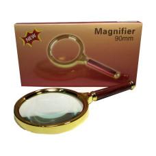 Лупа в золотой оправе «Magnifer» 90 мм (red)