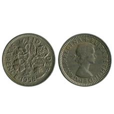 6 пенсов Великобритании 1958 г.