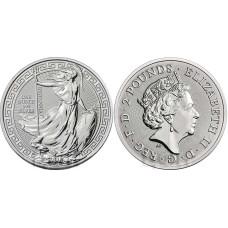 2 фунта Великобритании 2018 г., Стоящая Британия (унция серебра)