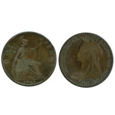 1 пенни Великобритании 1901 г.