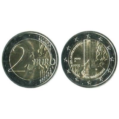 Серебряная монета 2 евро Германии 2020 г. 50-летие коленопреклонения в Варшаве (A)