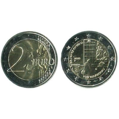 Серебряная монета 2 евро Германии 2020 г. 50-летие коленопреклонения в Варшаве (F)
