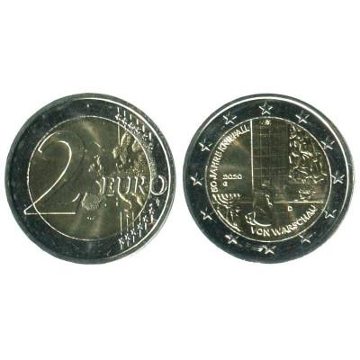 Серебряная монета 2 евро Германии 2020 г. 50-летие коленопреклонения в Варшаве (G)